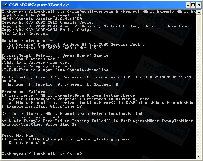 Thực thi phương thức kiểm thử NUnit với Command Line