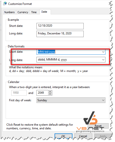 Cấu hình định dạng ngày tháng, thời gian trên Windows cho ứng dụng Winform