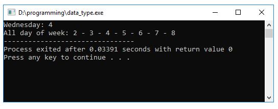 Kiểu Enum trong C/C++ (Code ví dụ Enumeration trong C/C++)